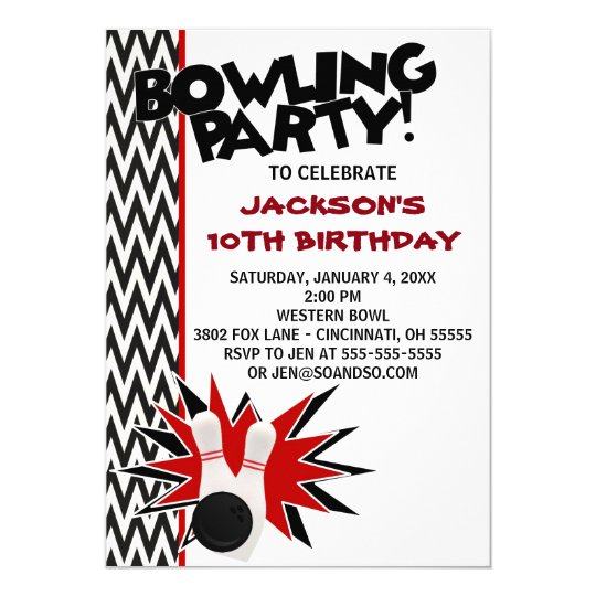 Bowling Birthday Party Custom Invitation