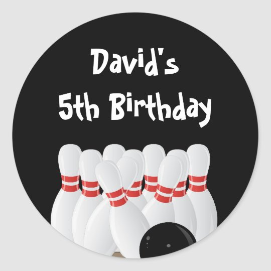Bowling Birthday Party Favour Labels Round Sticker