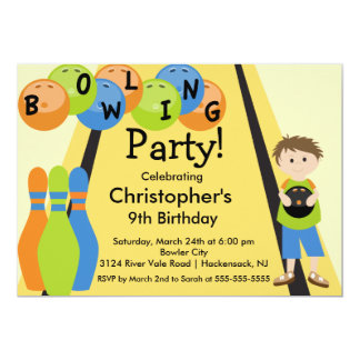 Bowling Birthday Party Invitation Retro Boy
