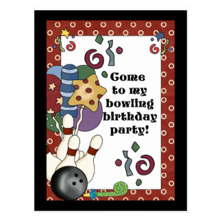 Bowling Birthday Party Invitations Postcard