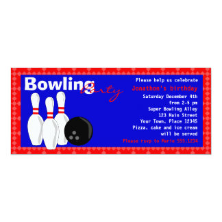 Bowling Birthday Party Invite - Red White and Blue