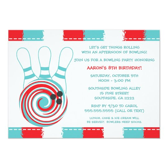 Bowling Birthday Party Invites / boy or girl