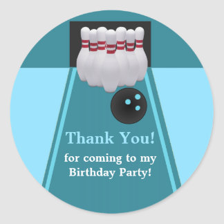 Bowling Birthday Party Sticker