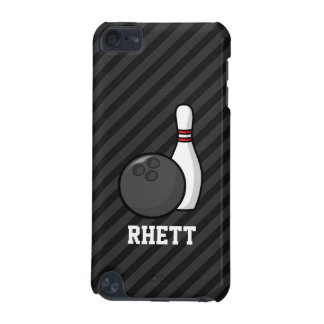 Bowling; Black & Dark Gray Stripes iPod Touch (5th Generation) Cover