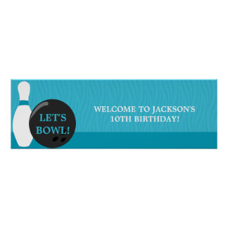 Bowling Boy Birthday Party Banner Poster