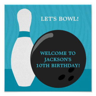 Bowling Boy Birthday Party Poster