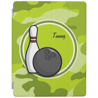 Bowling bright green camo camouflage iPad cover