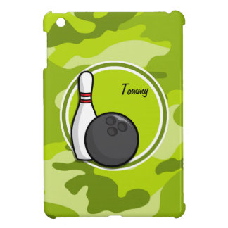 Bowling bright green camo camouflage iPad mini case