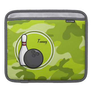 Bowling bright green camo camouflage iPad sleeves