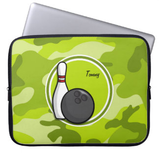 Bowling bright green camo camouflage laptop computer sleeve