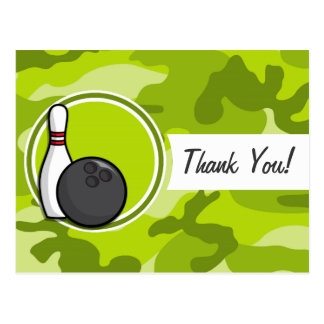 Bowling; bright green camo, camouflage postcards