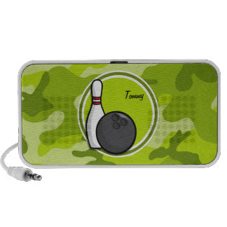 Bowling bright green camo camouflage laptop speakers