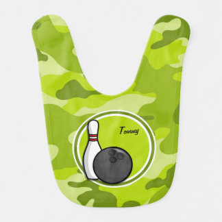Bowling bright green camo camouflage bibs