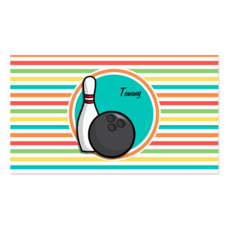 Bowling Bright Rainbow Stripes Business Cards