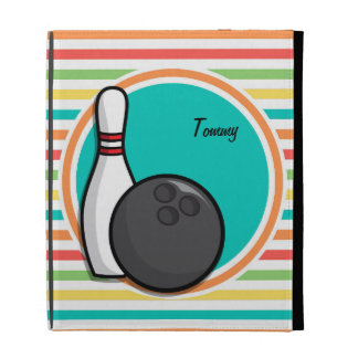 Bowling Bright Rainbow Stripes iPad Folio Cases
