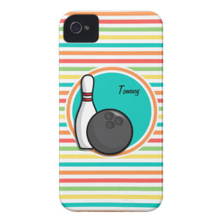 Bowling Bright Rainbow Stripes iPhone 4 Cases