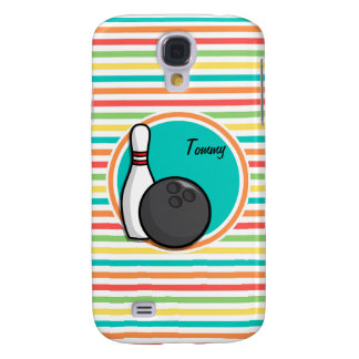 Bowling; Bright Rainbow Stripes Samsung Galaxy S4 Covers