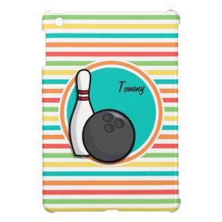 Bowling Bright Rainbow Stripes iPad Mini Covers