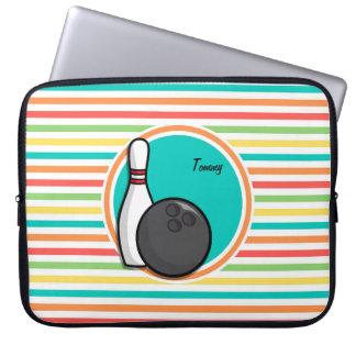 Bowling Bright Rainbow Stripes Laptop Sleeves