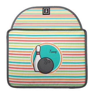 Bowling Bright Rainbow Stripes MacBook Pro Sleeves