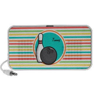 Bowling Bright Rainbow Stripes Mini Speakers