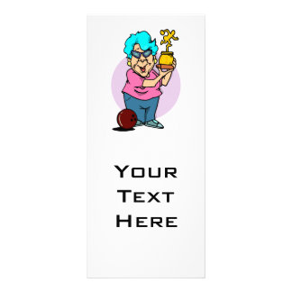 bowling champ granny cartoon personalised rack card
