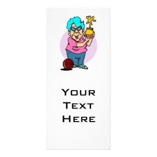 bowling champ granny cartoon personalised rack card