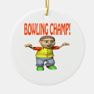 Bowling Champ Round Ceramic Decoration