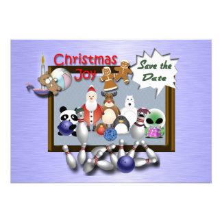 Bowling Christmas Party Custom Invitations