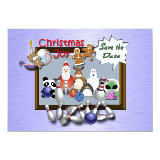 """Bowling Christmas Party 5"""" X 7"""" Invitation Card"""