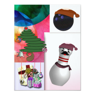 """Bowling Christmas Party 4.25"""" X 5.5"""" Invitation Card"""