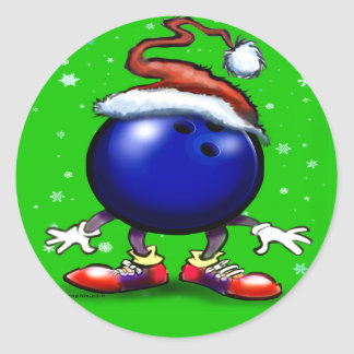 Bowling Christmas Round Sticker