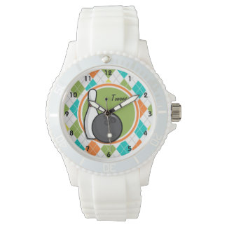 Bowling; Colorful Argyle Pattern Watch