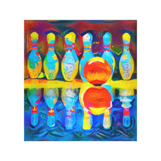 Bowling Composition - Wrapped Canvas Art