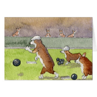 Bowling Corgis Birthday Card