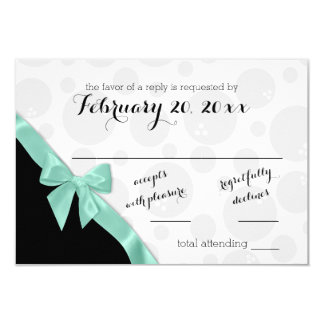 Bowling Dots and Mint Green Bow Response Card 9 Cm X 13 Cm Invitation Card
