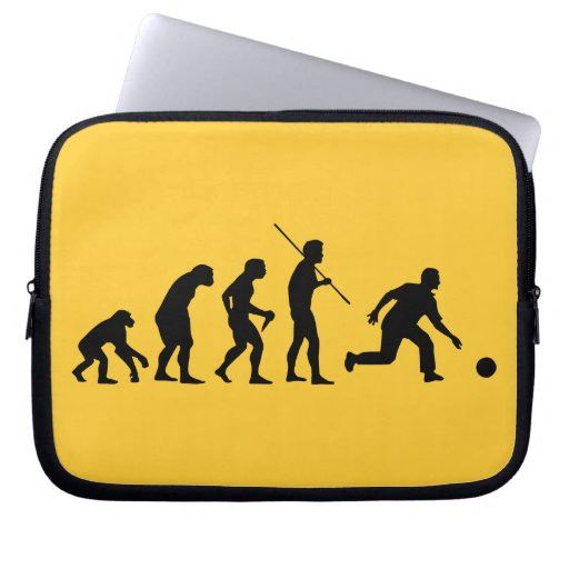 bowling evolution from man to bowler laptop computer sleeves