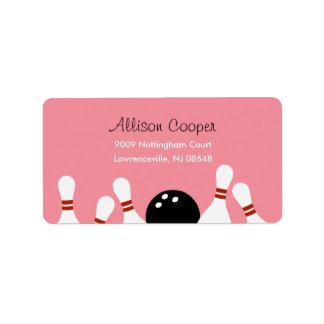 Bowling Fun Address Label (Pink)