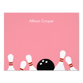 Bowling Fun Thank You Card (Pink) 11 Cm X 14 Cm Invitation Card