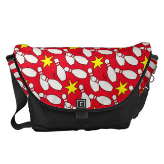 Bowling Fun with Pins and Stars Messenger Bag