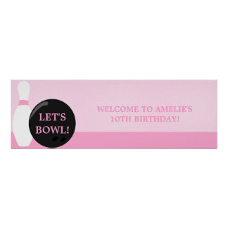 Bowling Girl Birthday Party Banner Print