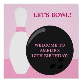 Bowling Girl Birthday Party Poster
