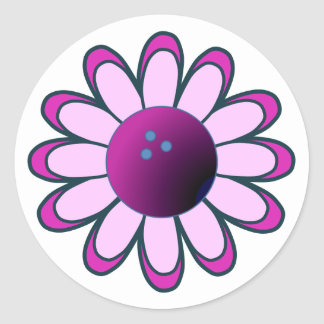 Bowling Girl Round Stickers