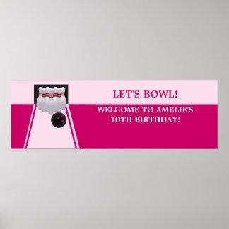 Bowling GirlBirthday Party Banner Print