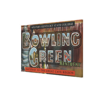 Bowling Green, Kentucky - Large Letter Scenes Stretched Canvas Print