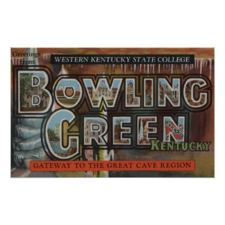 Bowling Green, Kentucky - Large Letter Scenes Poster