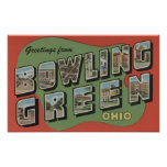 Bowling Green, Ohio - Large Letter Scenes Print