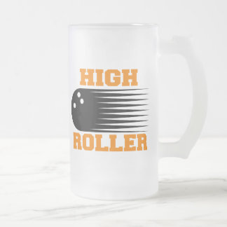 Bowling High Roller Bowler Frosted Glass Mug