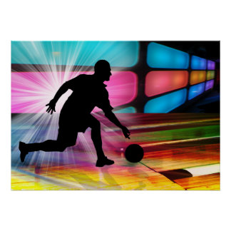 Bowling in a Neon Alley Print