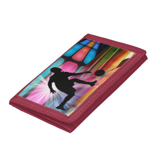 Bowling in a Neon Alley Trifold Wallet